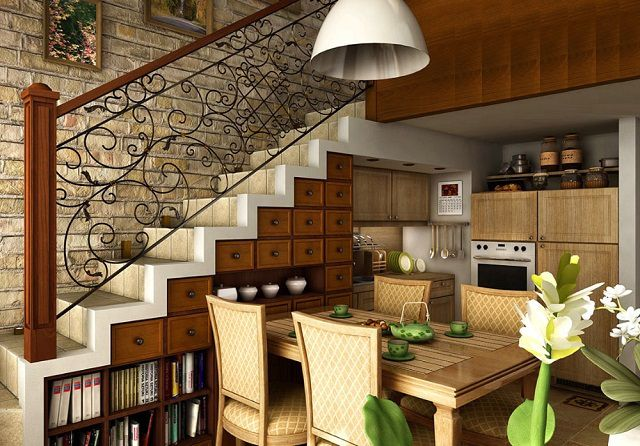 The space under the stairs was quite functional part of the kitchen