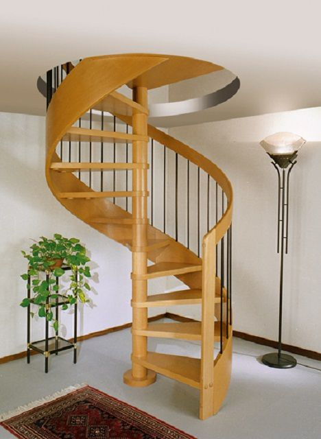 One major advantage of the spiral staircase - space saving