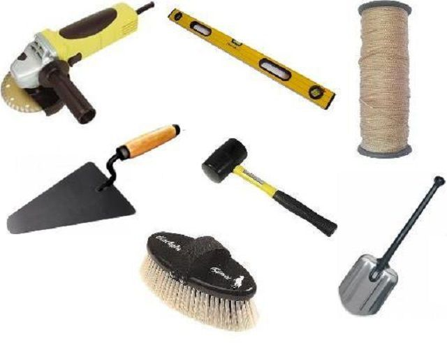 The tools required for laying paving slabs