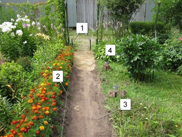 Example layout and pre-treatment before the garden path paving