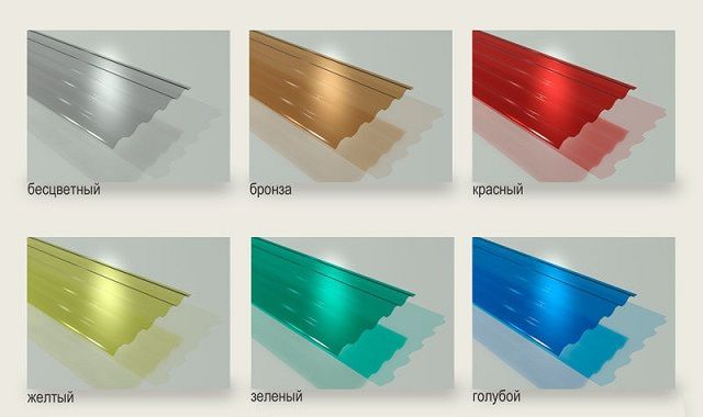 Several colors of the transparent slate samples