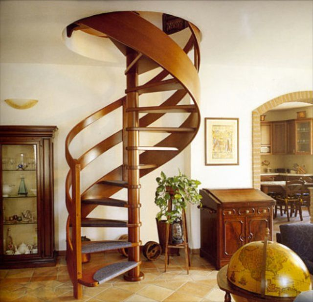 Spiral staircase - saves space , but it is not always convenient to carry dimensional objects