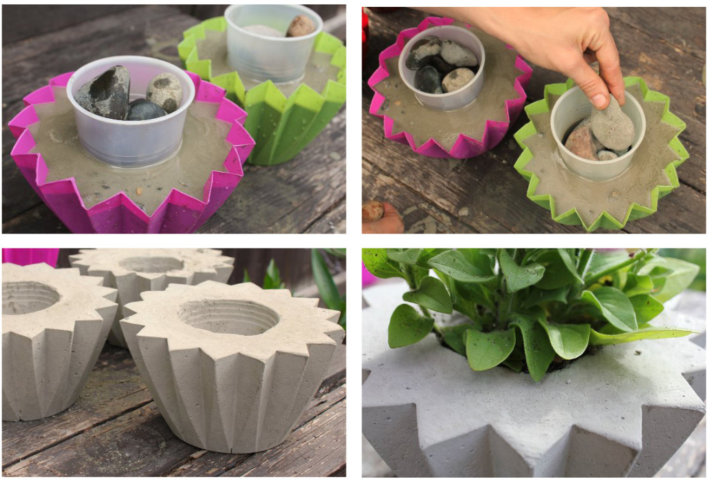 Miniature pots of concrete with their hands