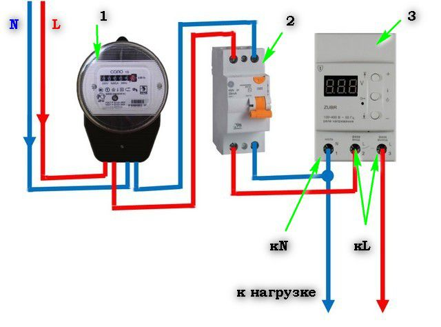 An exemplary diagram of the connection voltage relay