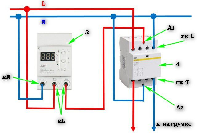 voltage relays Installation example in conjunction with an electromagnetic contactor