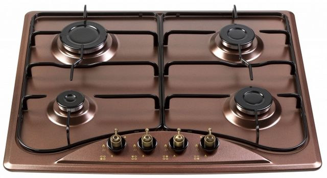 Gas hob with enamel coating