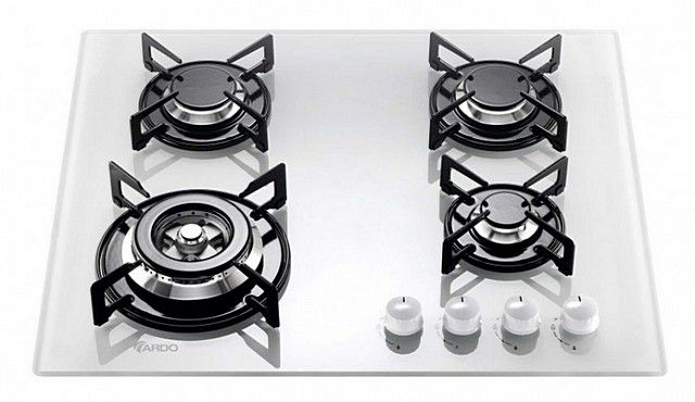 The hob is made ​​of white frosted tempered glass .