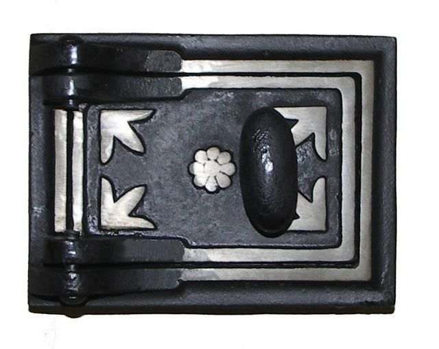 Cast iron oven door , colored thermal compound
