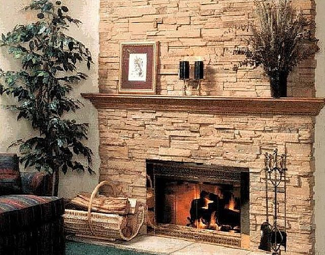 Fireplace or stove can be covered with a heat-resistant transparent varnish which will retain the natural appearance of stone