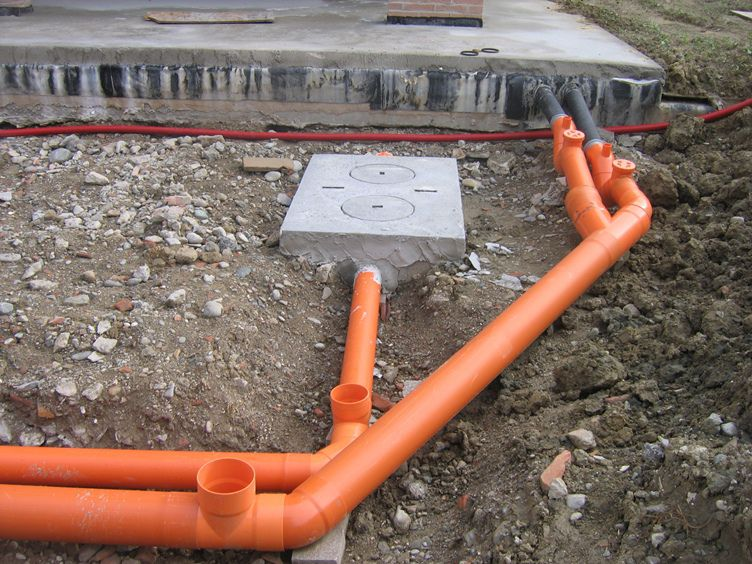Laying of sewer pipes