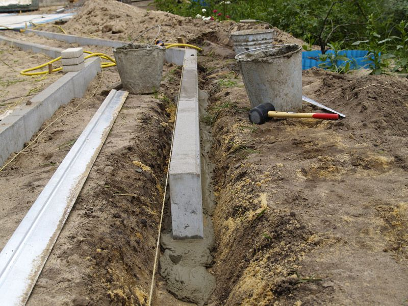 Or you can use a long concrete edging , pre- cast in the narrow forms