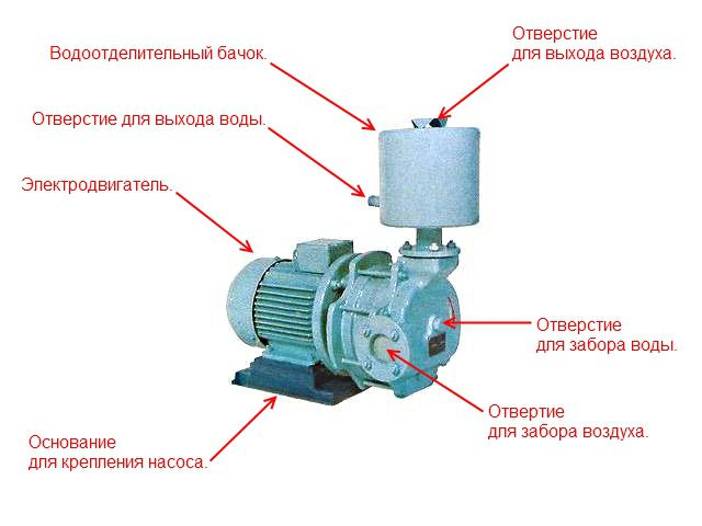 The device of the vacuum liquid ring pump