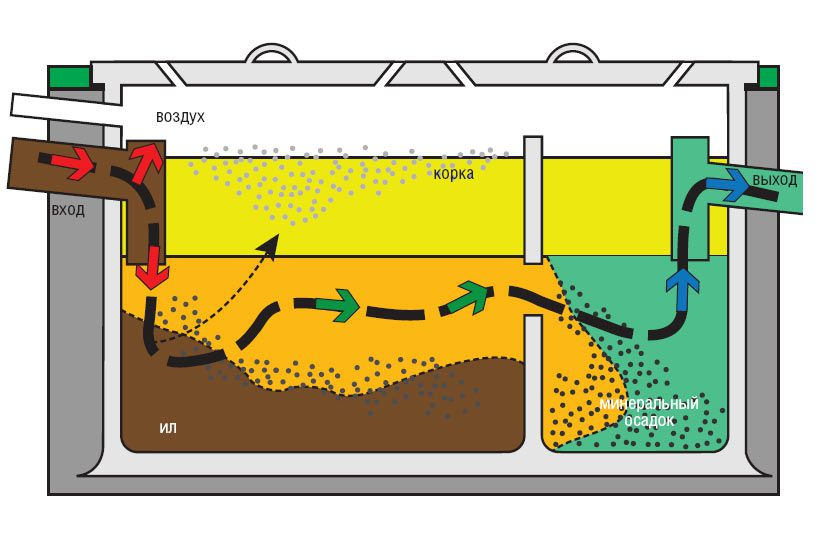 The principle of operation of a septic tank
