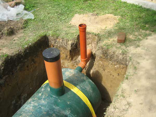 Septic cables attached to the metal reinforcement of the concrete pads
