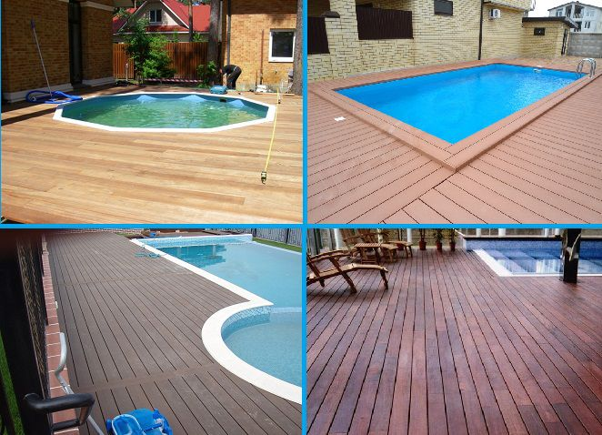 Wooden deck around the pool