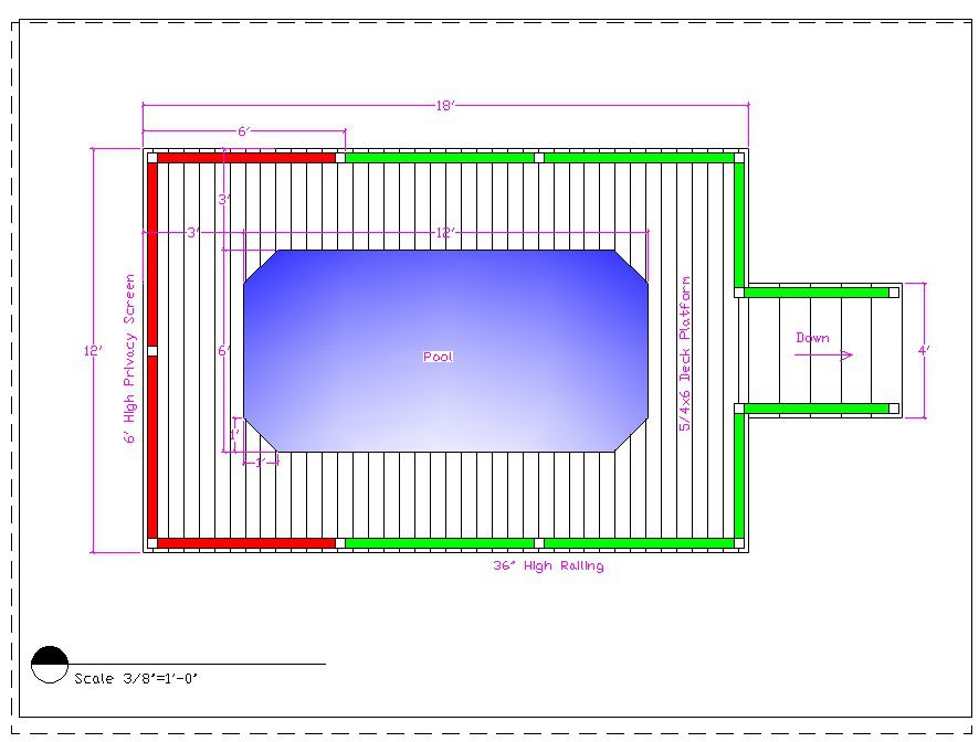 Figure 1. Plan terraces around the swimming pool
