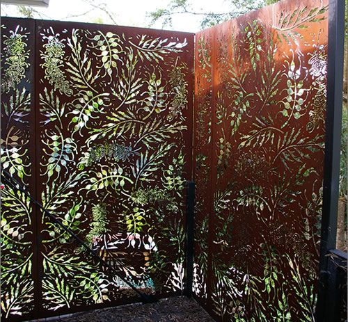 Privacy Screen - shaped carved wooden panel