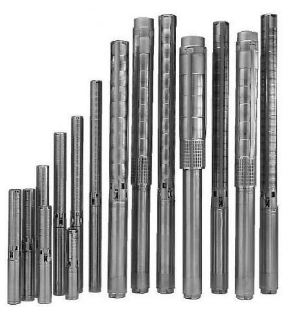 A variety of submersible pumps