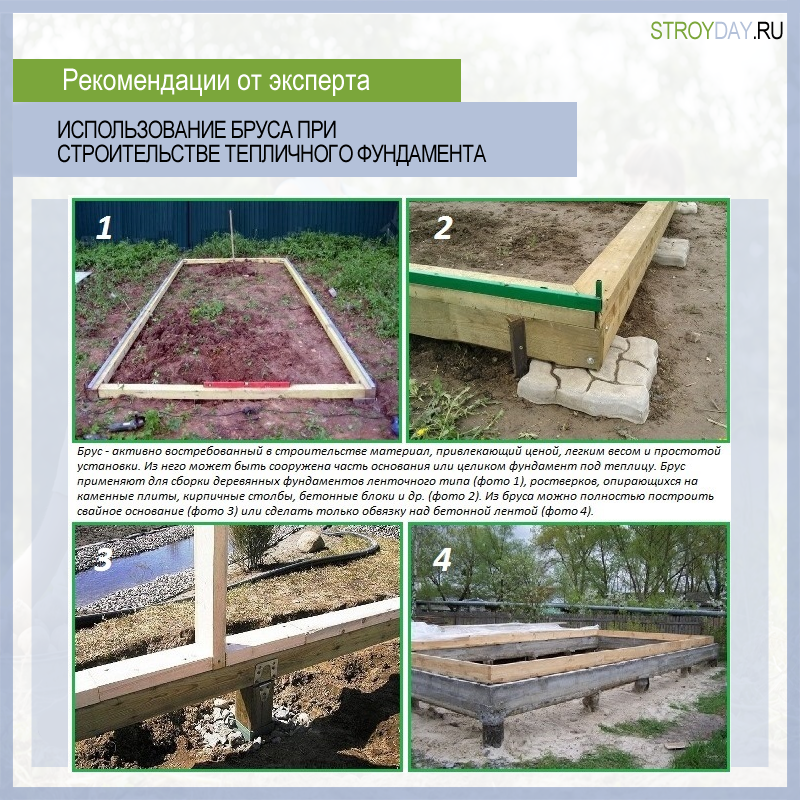 The use of timber in the construction of the greenhouse foundation