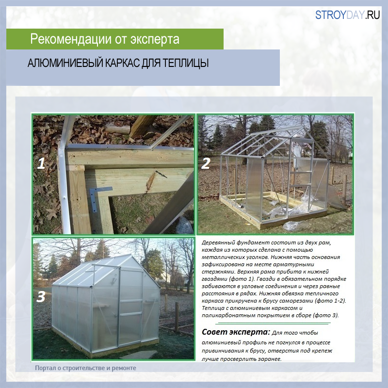 Aluminum frame for greenhouses