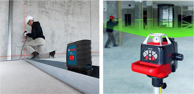Lasers with red and green beams