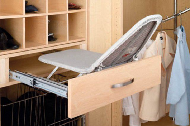 When folded ironing board generally does not take useful space