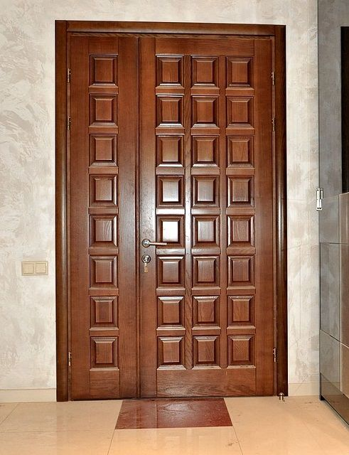 Warm wooden entrance doors
