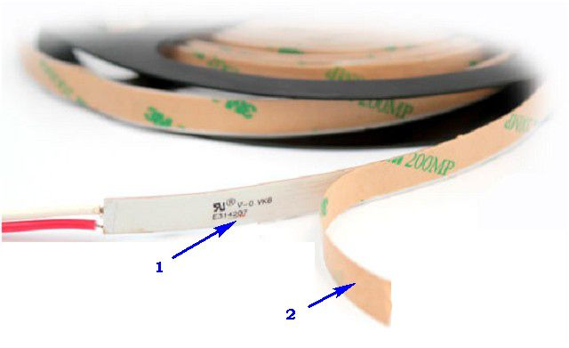 Double-sided adhesive tape (Pos . 1 ) and a protective substrate (Pos . 2 ) , which is removed when you install tape