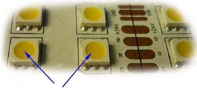 A phosphor layer in LED (arrow ) indicates that it is an element of white luminescence