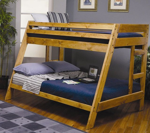 double bed was placed in the first tier of a trapezoidal design