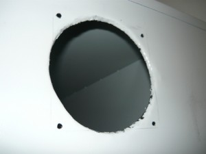 Processed hole for the fan