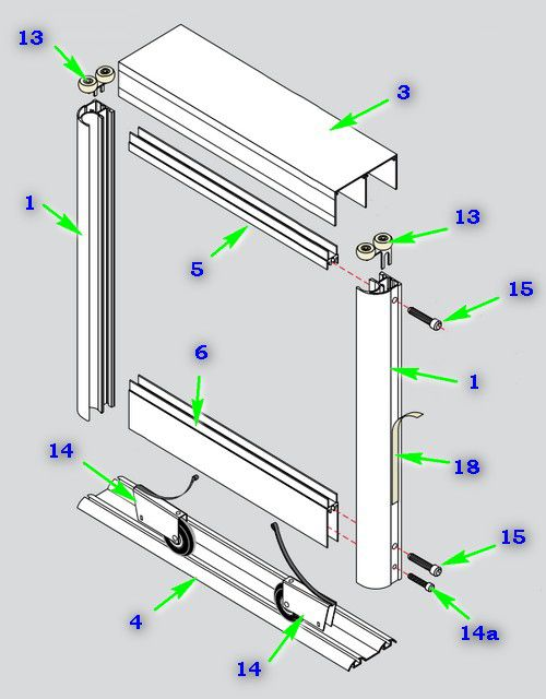 Scheme door assembly using a vertical profile C.