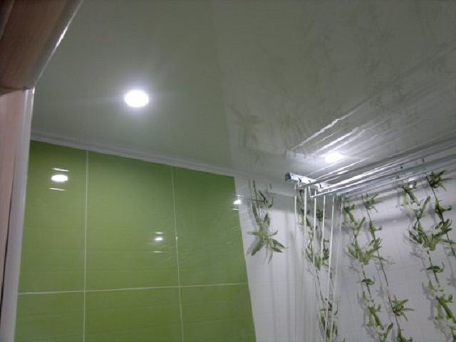 Spotlights on PVC ceiling