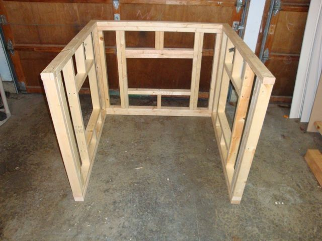 Wooden frame for walls of a small chicken coop