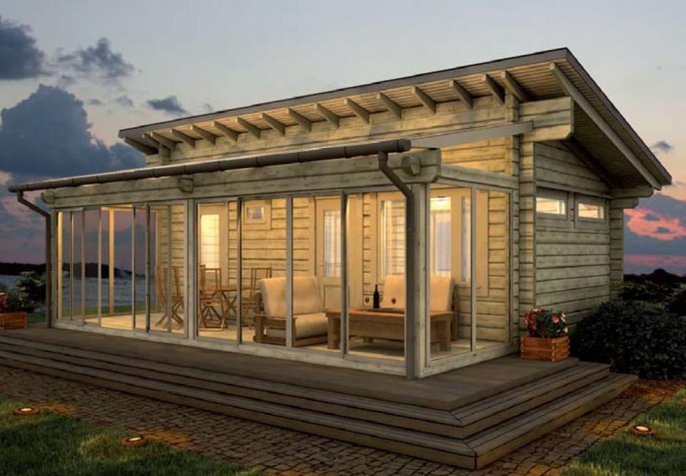 Veranda in a wooden house