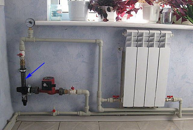 Miniature electrode boiler is located right next to a radiator