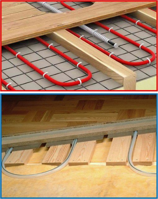 Electric and water heated floors on joists