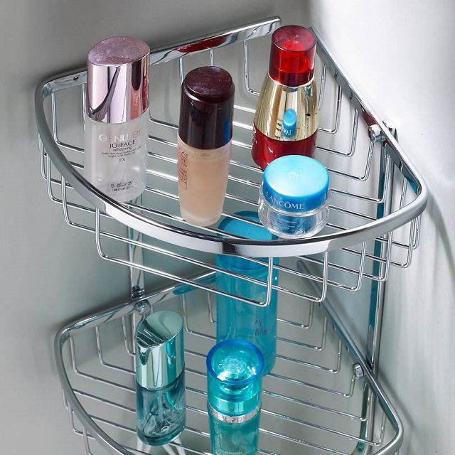 Steel corner shelf with chrome finish