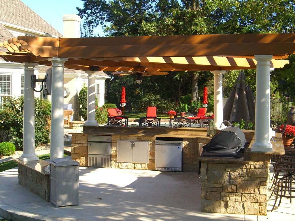 Pergola with summer kitchen