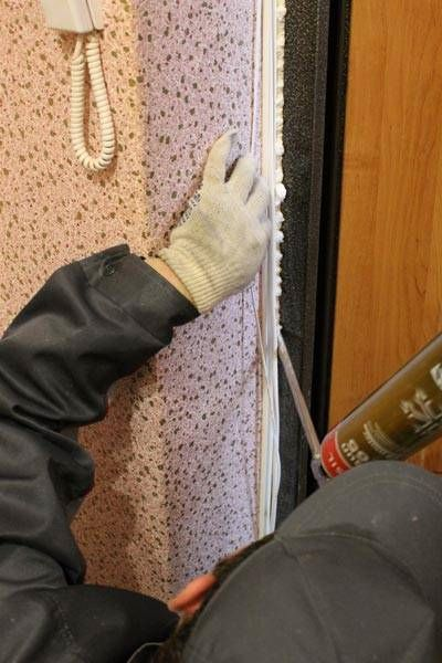Polyurethane foam- filled mounting clearances