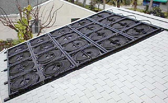 On the roof - a whole battery of solar collectors