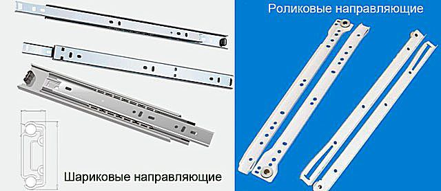 Sets of ball and roller guides for the manufacture of furniture designs