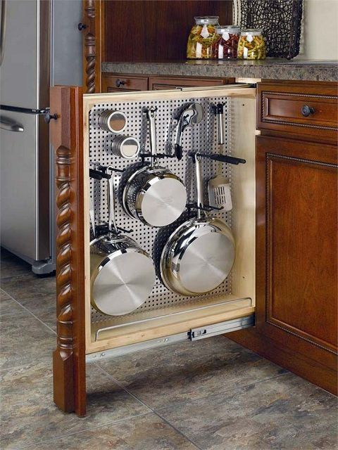Retractable vertical compact cabinet in which all pans are located conveniently