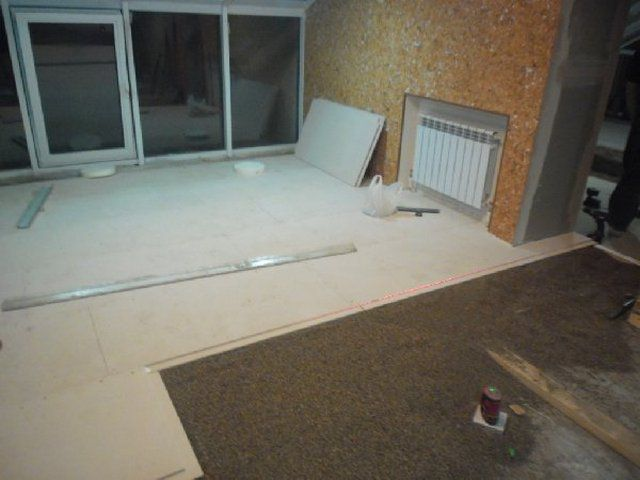 The dry screed can be laid on sections