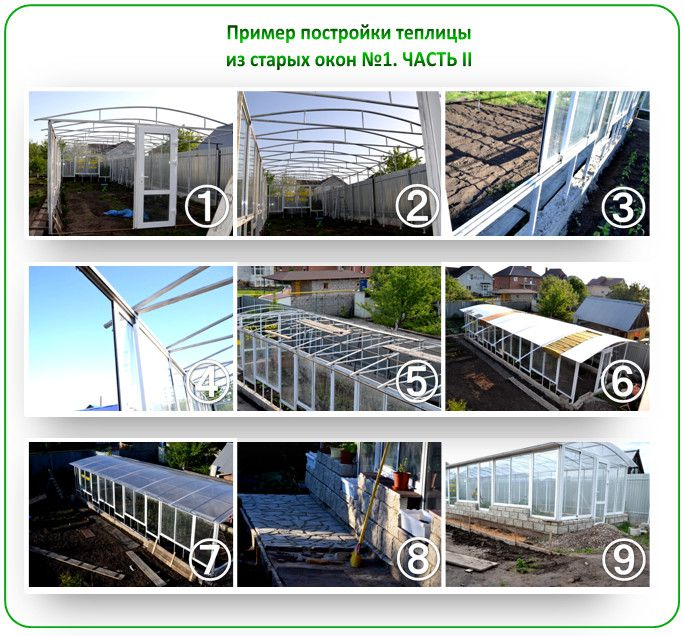 An example of the construction of the greenhouse