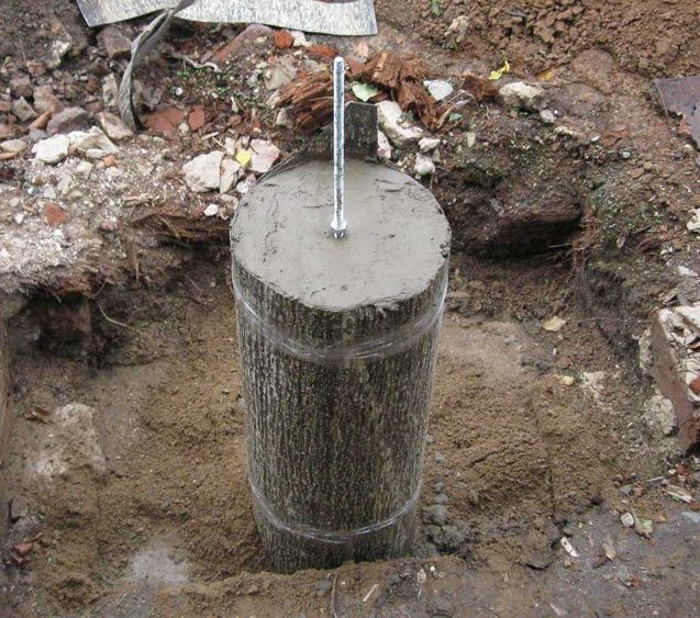 foundation pillar (instead of using bitumen roofing felt )