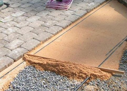 Laying of paving slabs