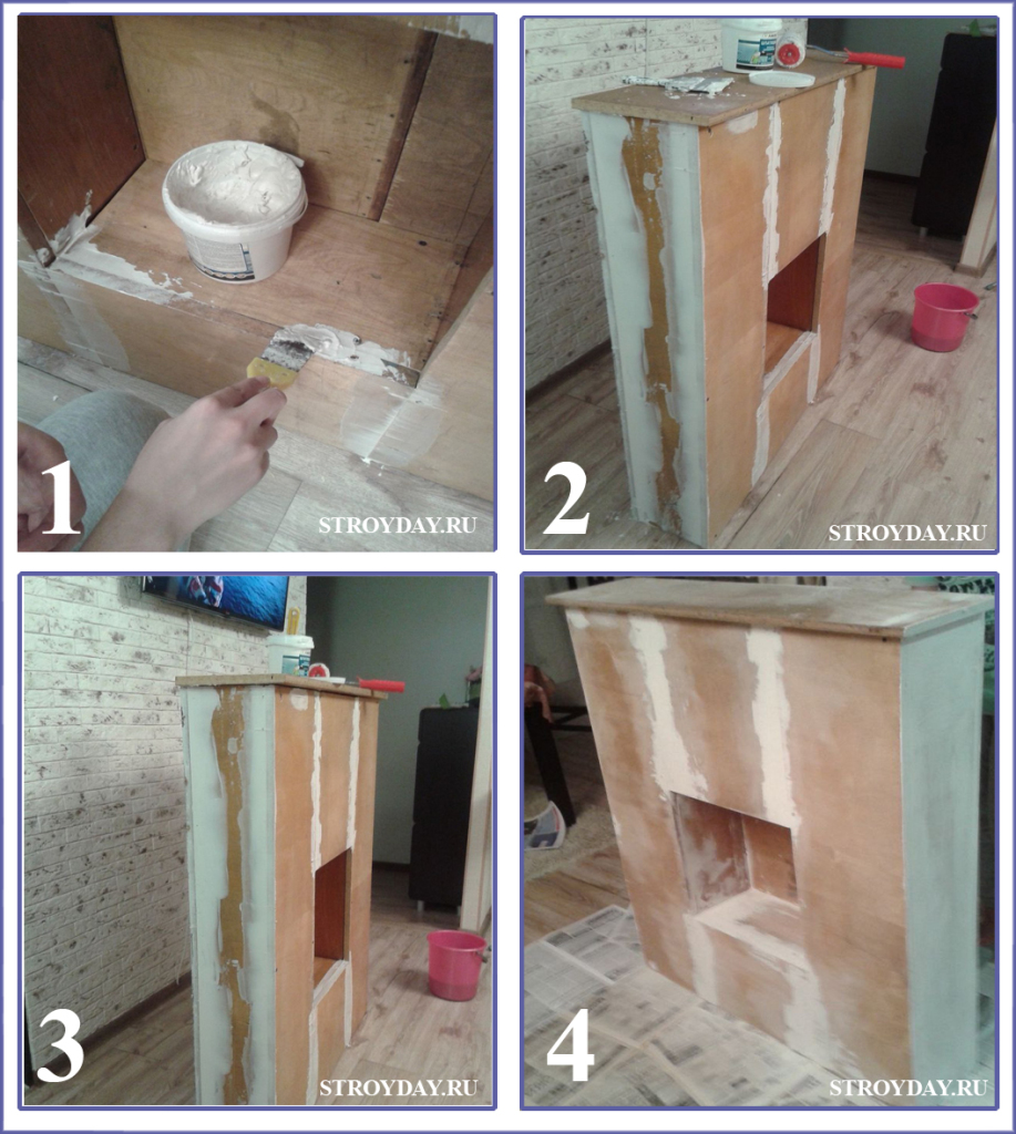Plastering fireplace