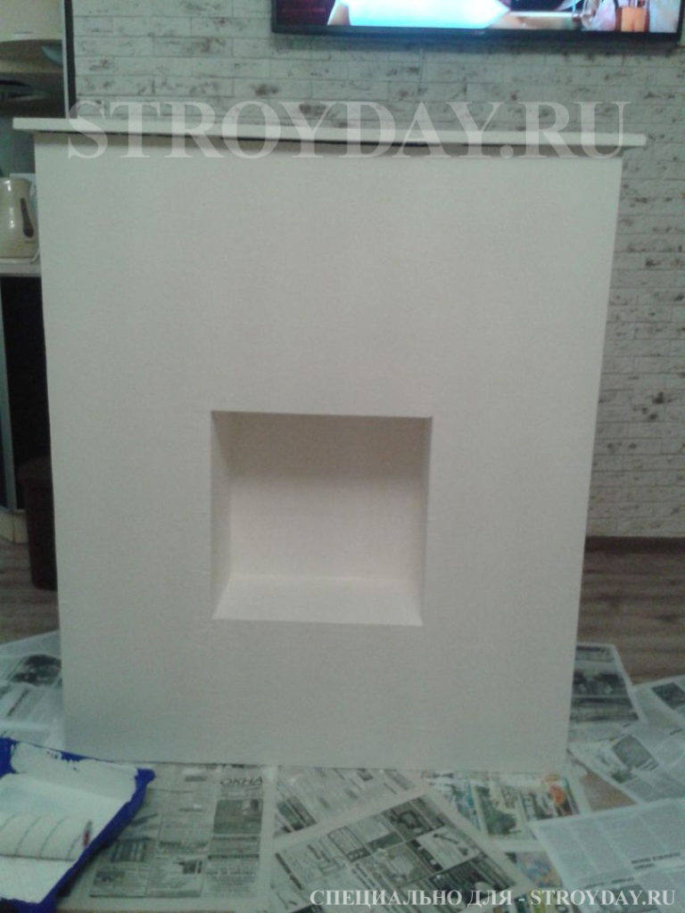 Photo fireplace after painting with latex paint