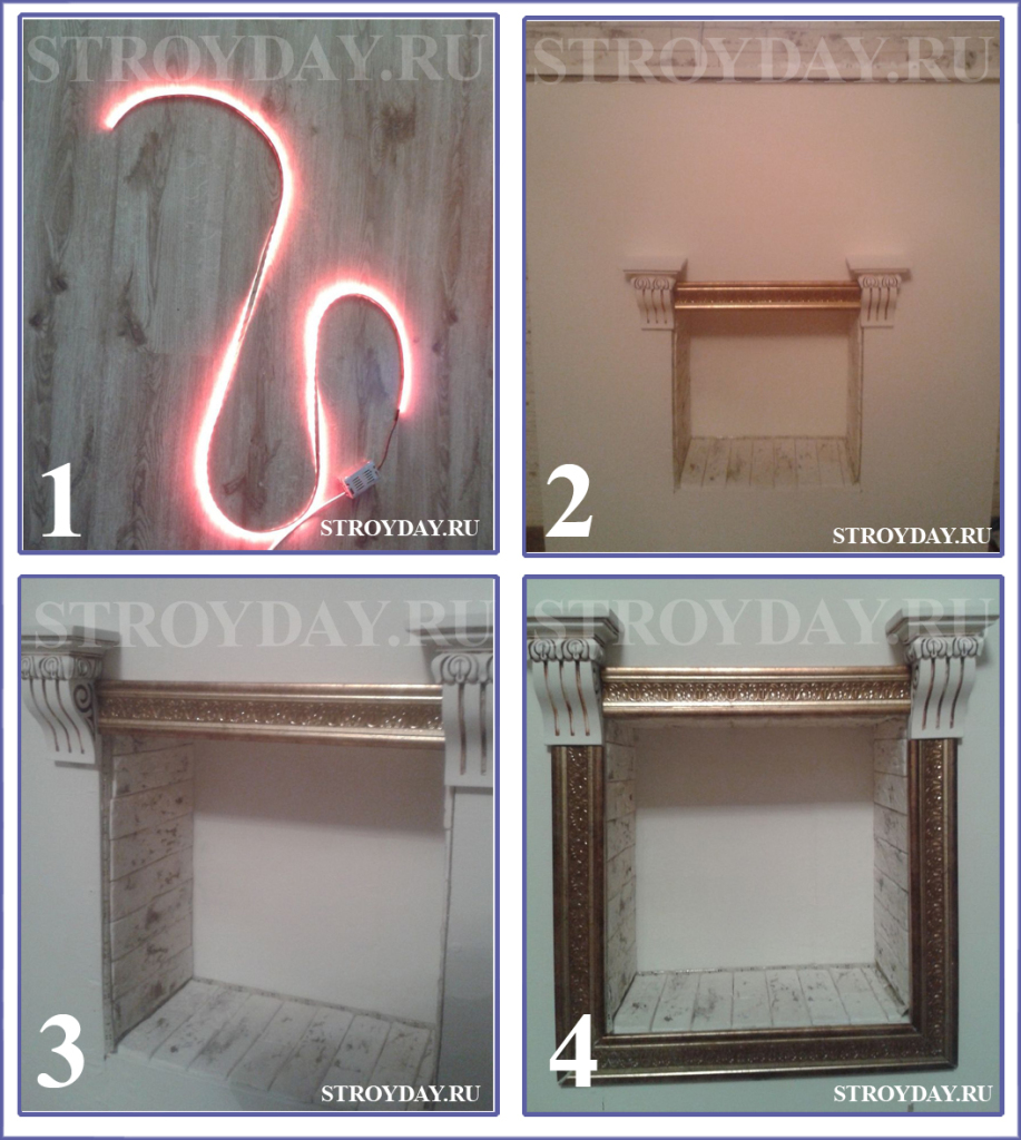Decorating the fireplace firebox LED ribbon
